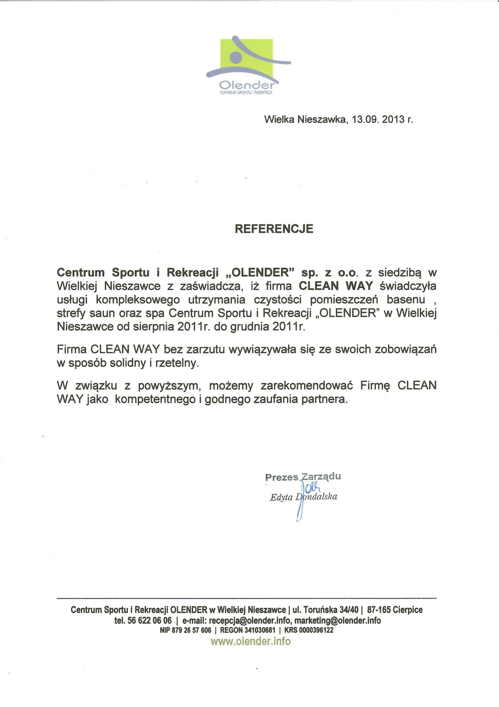 Referencje Centrum Sportu i Rekreacji Olender sp. z o.o.